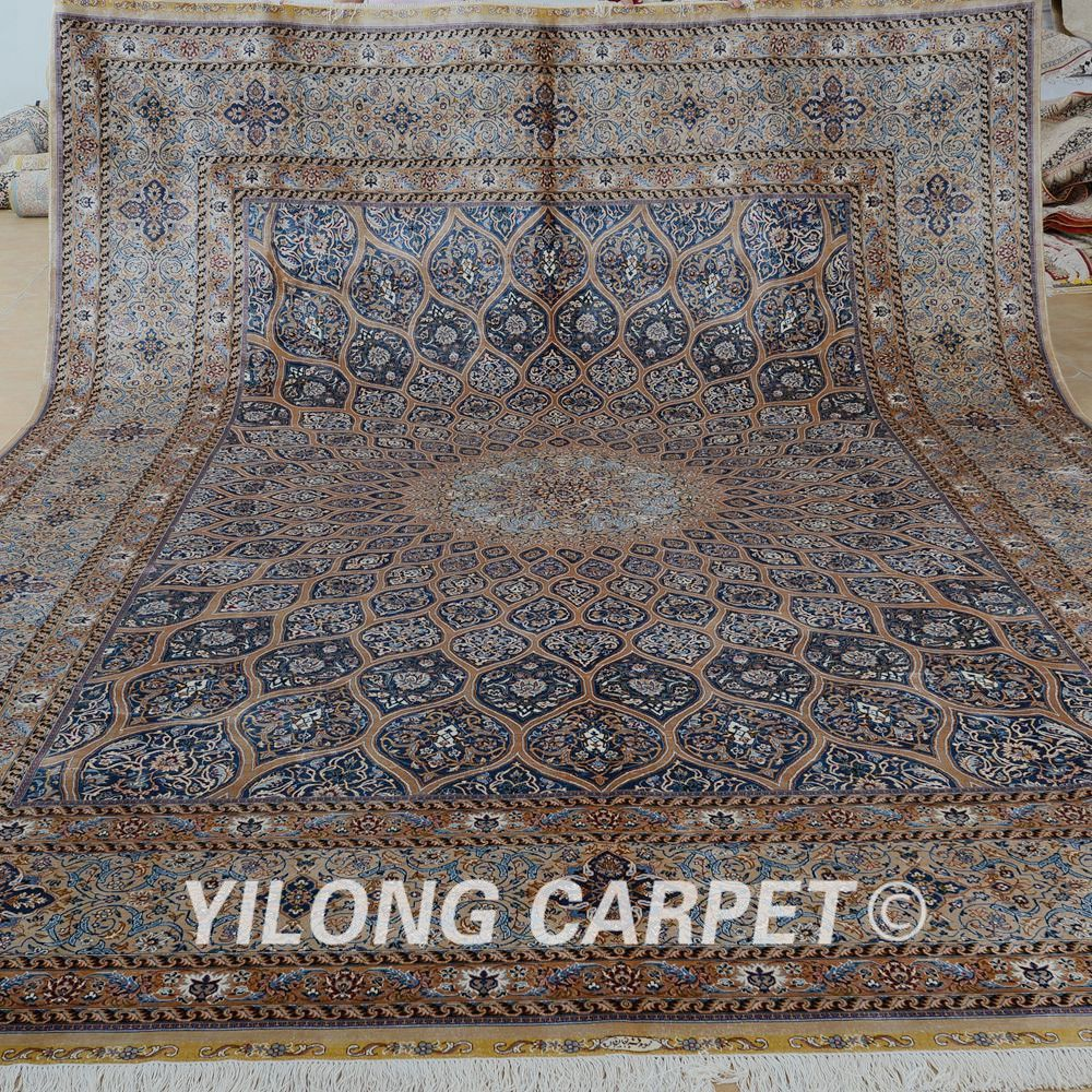 Yilong 10 X14 Vantage Medallion Design Silk Rug Large Antique Persian Silk Carpet 1888 Silk Persian Rugs Persian Rugs For Sale Carpet Handmade