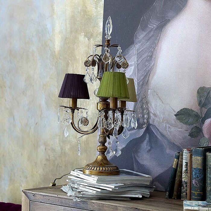 Antiqued gilt girondole candelabra lamp