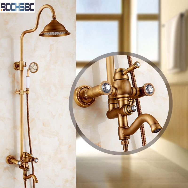 BOCHSBC Shower Set with Rainfall Shower Heads European Antique Brass ...