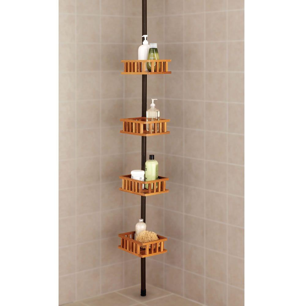 The Instant Four Shelf Teak Shower Organizer Hammacher Schlemmer Teak Shower Shower Organization Bathroom Decor Accessories