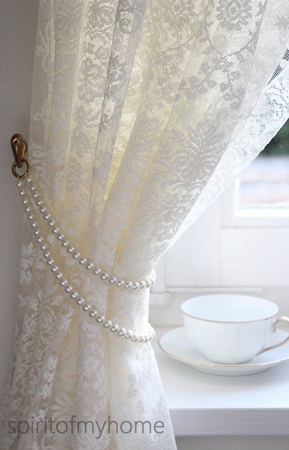"""Photo of TAMMY 'Shabby Chic Vintage Styled Curtain Jewelery Pearl Handmade metal rings Lenght 19 """"or 49cm Doubled Ivory Pearl Tieback Custom"""