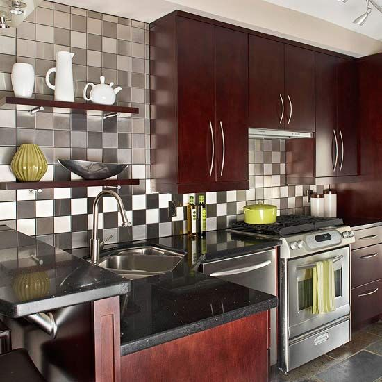 Kitchen With Black Tiles: Kitchen Backsplash Ideas
