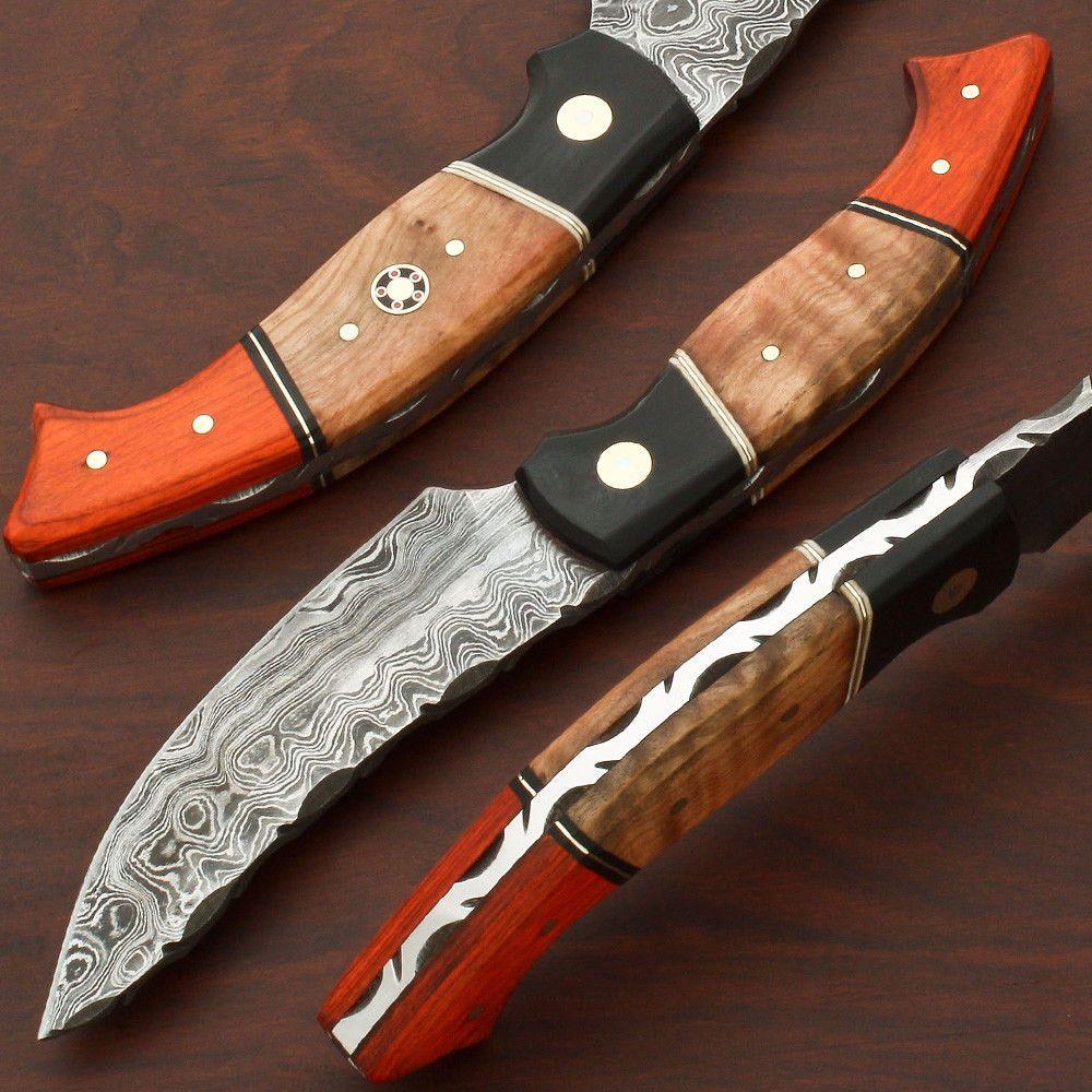 Handmade Pattern Welded Damascus Steel Kitchen-Skinner Knife-Damast Stahl