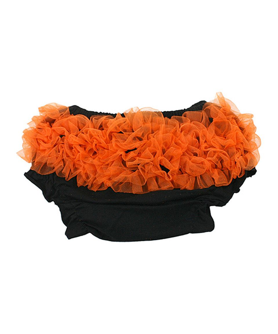This Black & Orange Ruffle Diaper Cover - Infant by Princess Linens Layette is perfect! #zulilyfinds