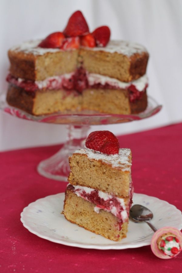 Grain Free Sponge Cake With Homemade Strawberry Jam And Coconut