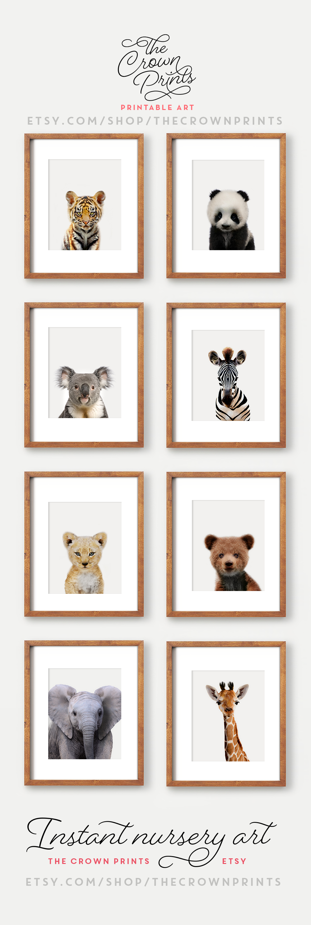Printable Nursery Art Zoo Animals Theme From The Crown Prints On Etsy