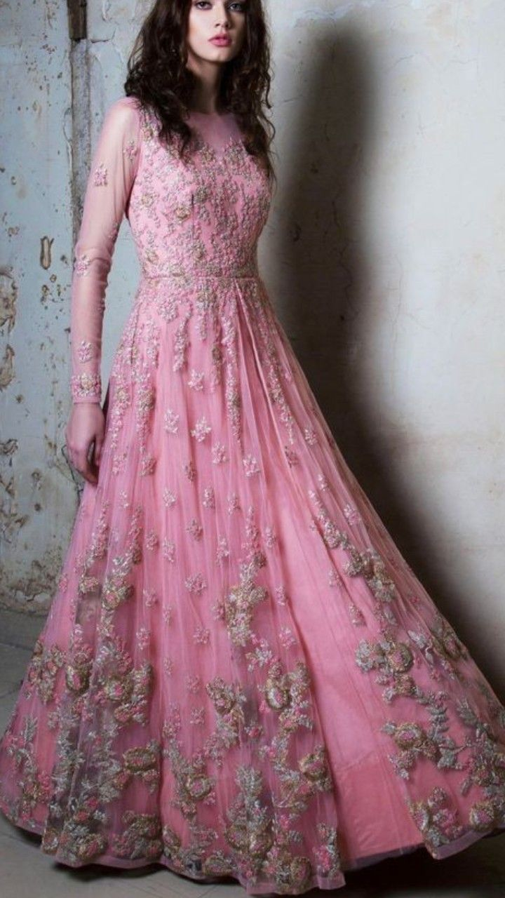 888adec56c Beautiful Hand Embroidered Net and silk Gown.   Indo-Western Gown ...