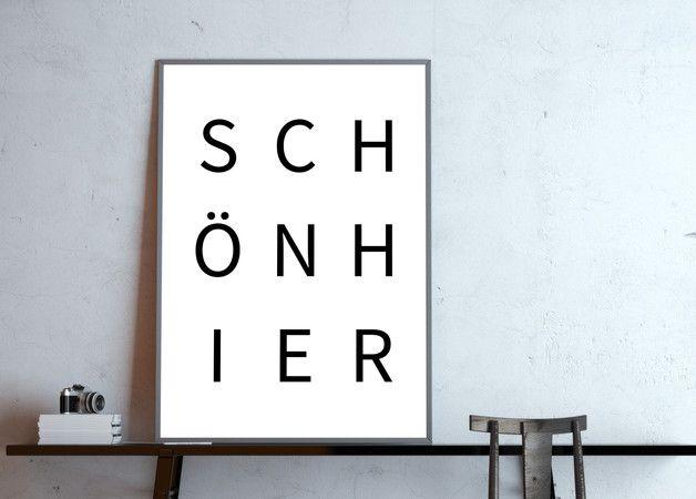 Digitaldruck – Typo-Poster: wunderschön hier, s / w – ein Designerstück von goodGirrrl …   – Tolle Typo!