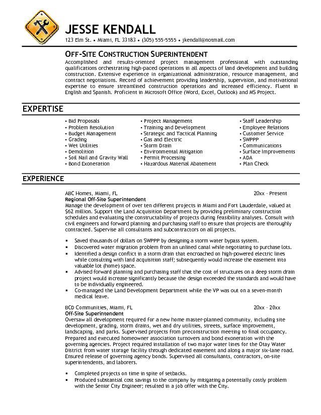 11 Best Construction Resume Sample Free Resume Pinterest - construction superintendent resume templates