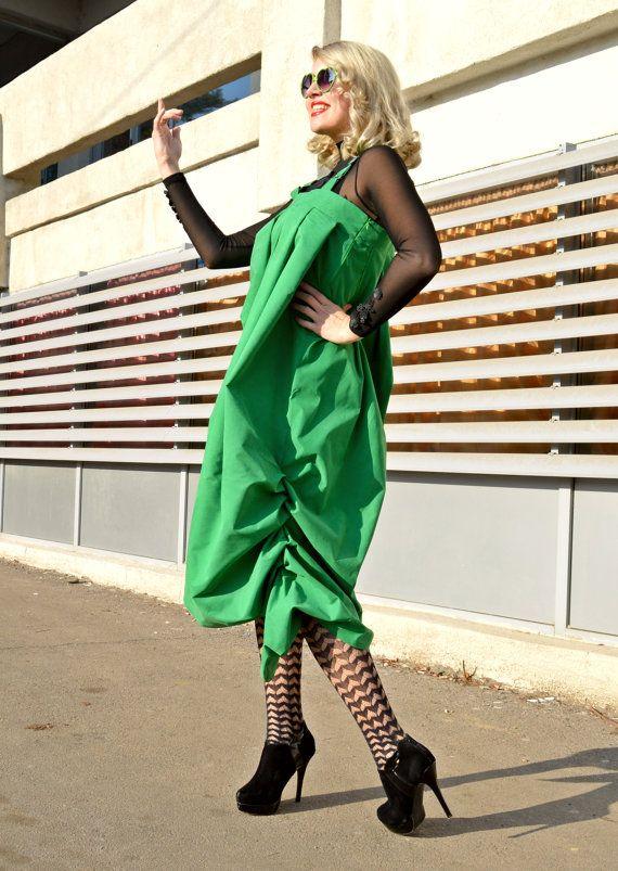Extravagant Oversize Green Jumper Dress / Maxi Jumper Dress / Green Loose Funky Dress / Asymmetrical Jumper Dress TDK160