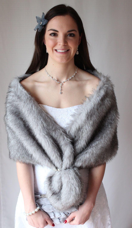 Bridal faux fur stole grey chinchilla faux fur stole