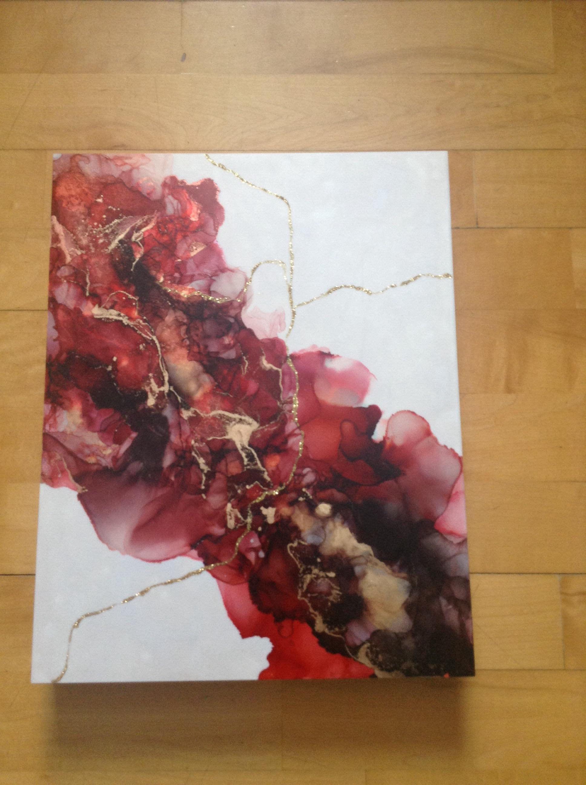 Peinture Abstraite Rouge Et Or Sur Fond Blanc Peinture Encre Et