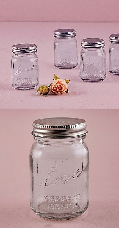 Vintage Inspired Raised Script Love Mini Mason Jars Set Of 6
