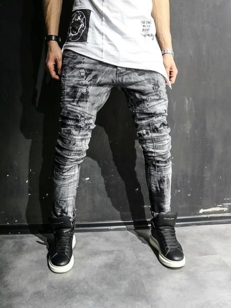 8d12374bfaa 2Y Men Slim Fit Ripped Destroyed Paint Mini Bars Jeans - Washed Black in  2019