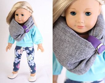 Fits like American Girl Doll Clothes, Fall-Winter Modern CASUAL CHIC, Blue Peasant-Style Blouse, Floral Leggings, Herringbone Snood, Flats