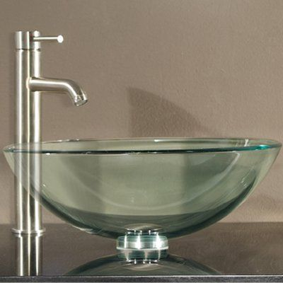 World Menagerie Lammers Tempered Glass Circular Vessel Bathroom Sink