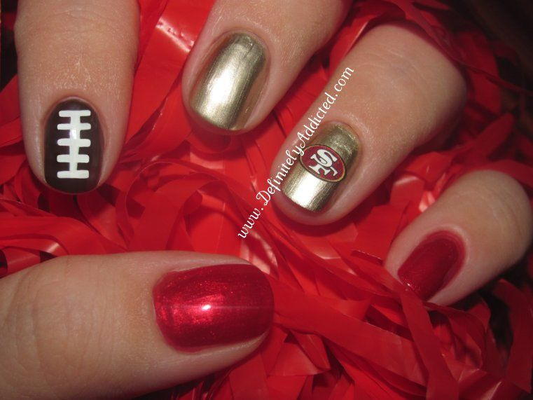 I Am Definitely Addicted 49ers Decal Manicure Sports Nails Football Nail Designs 49ers Nails