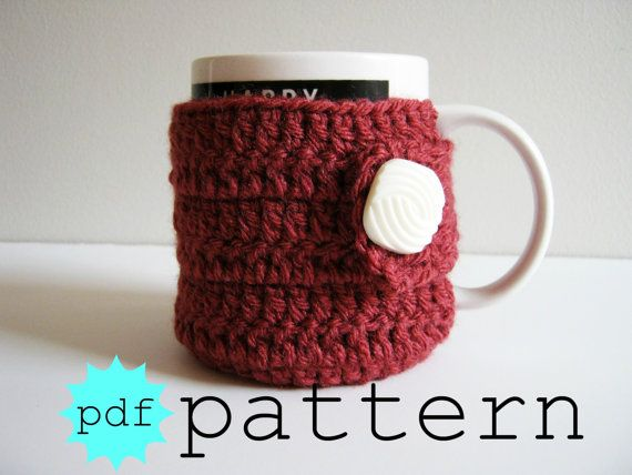 PDF Crochet Pattern Coffee Mug Cozy with Button by FullFlowerMoon ...
