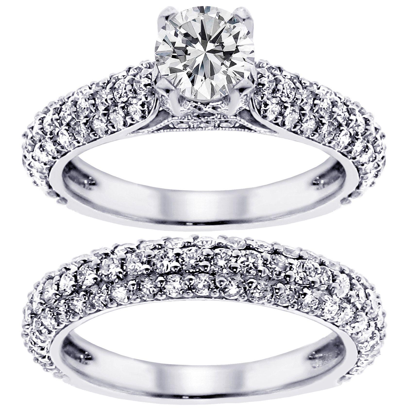 14k/ 18k Gold or Platinum 3 1/2ct TDW Diamond Bridal Ring