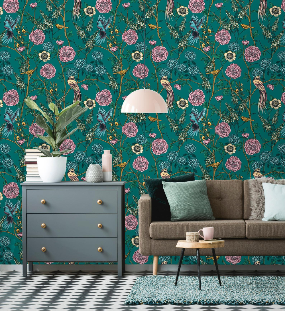 Removable Wallpaper Peel And Stick Victorian Garden Etsy Removable Wallpaper Teal Removable Wallpaper Home Decor
