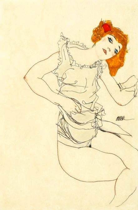 Egon Schiele - Ragazza bionda in sottoveste, 1913 (Gouache e matita su carta, 46.5 x 31 cm - collezione privata)