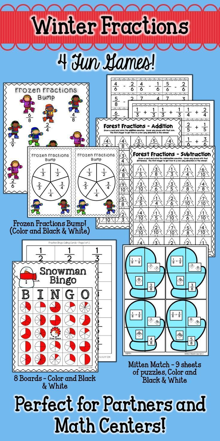 Winter Fractions Games - Review and Practice | Finding equivalent ...