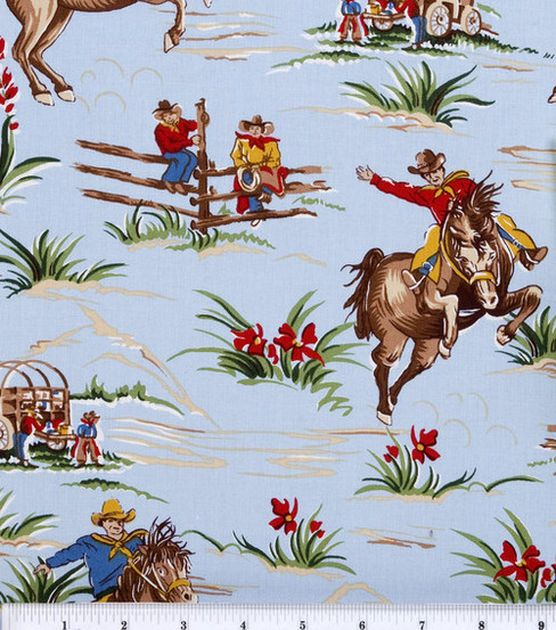 Curtains: Jo-Ann Stores Novelty Cotton Fabric Cowboys & Horses. have light blue chambray coverlet and sham. maple bed, dresser, nightstand