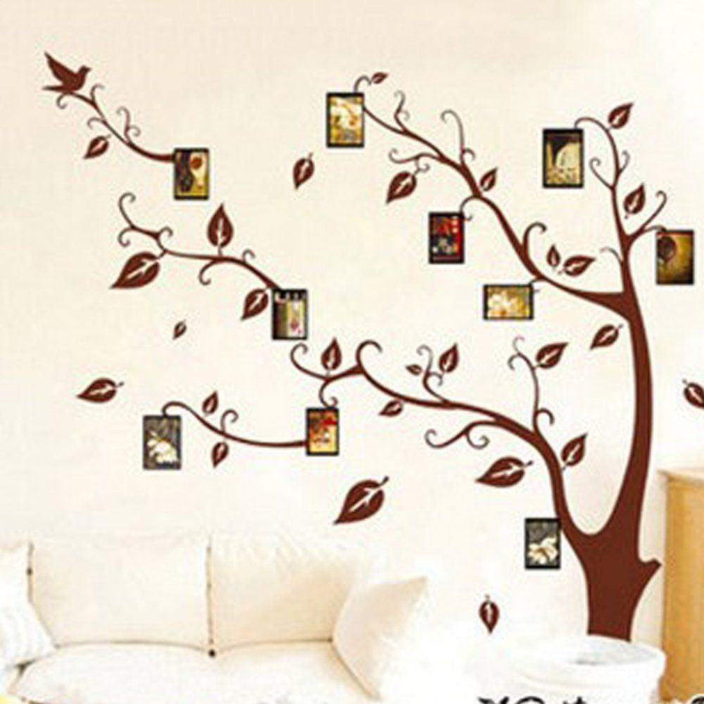 Window decor stickers  photo picture frame family tree wall murals removable wall sticker