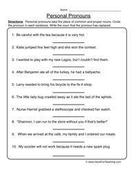 Pronoun Worksheet 1 - Personal Pronouns   Pronoun worksheets ...