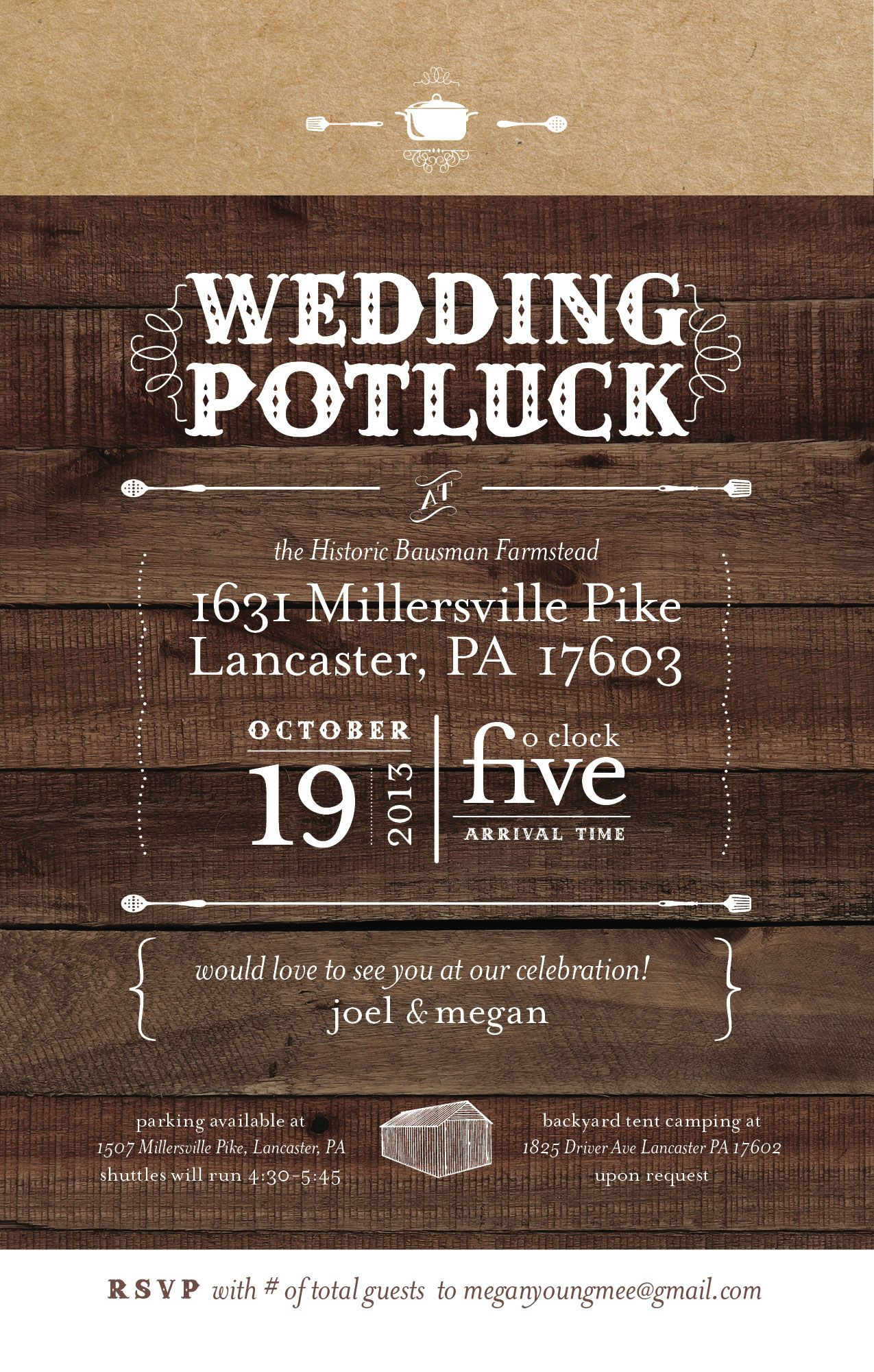 Potluck Wedding Yes Love This Invitation Idea And Style