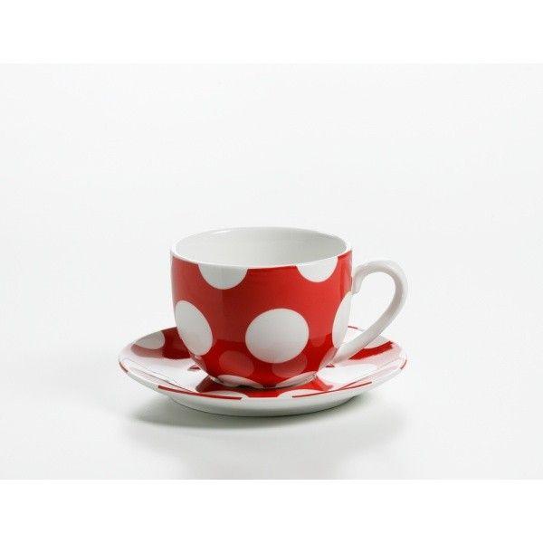 Tasse mit Untertasse Porzellan rot POLKA DOT (L12.0 B9.0 H8.5 cm|250 ml)