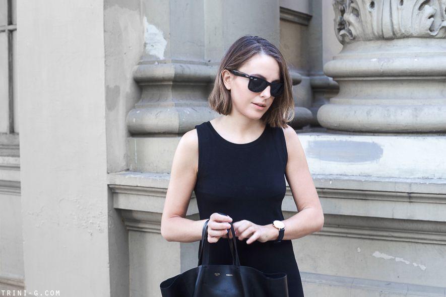 Trini | Ray-Ban wayfarer black sunglasses Gap black dress Celine Cabas bag Daniel Wellington watch