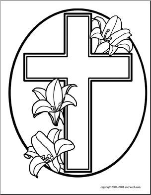 coloring page easter cross with lilies easter religious coloring page cross with lilies - Coloring Page Cross