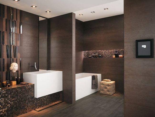 modernes bad schokolade farbe fliesen glänzende mosaik akzente ... - Matt Und Glnzende Fliesen Kombinieren Bad