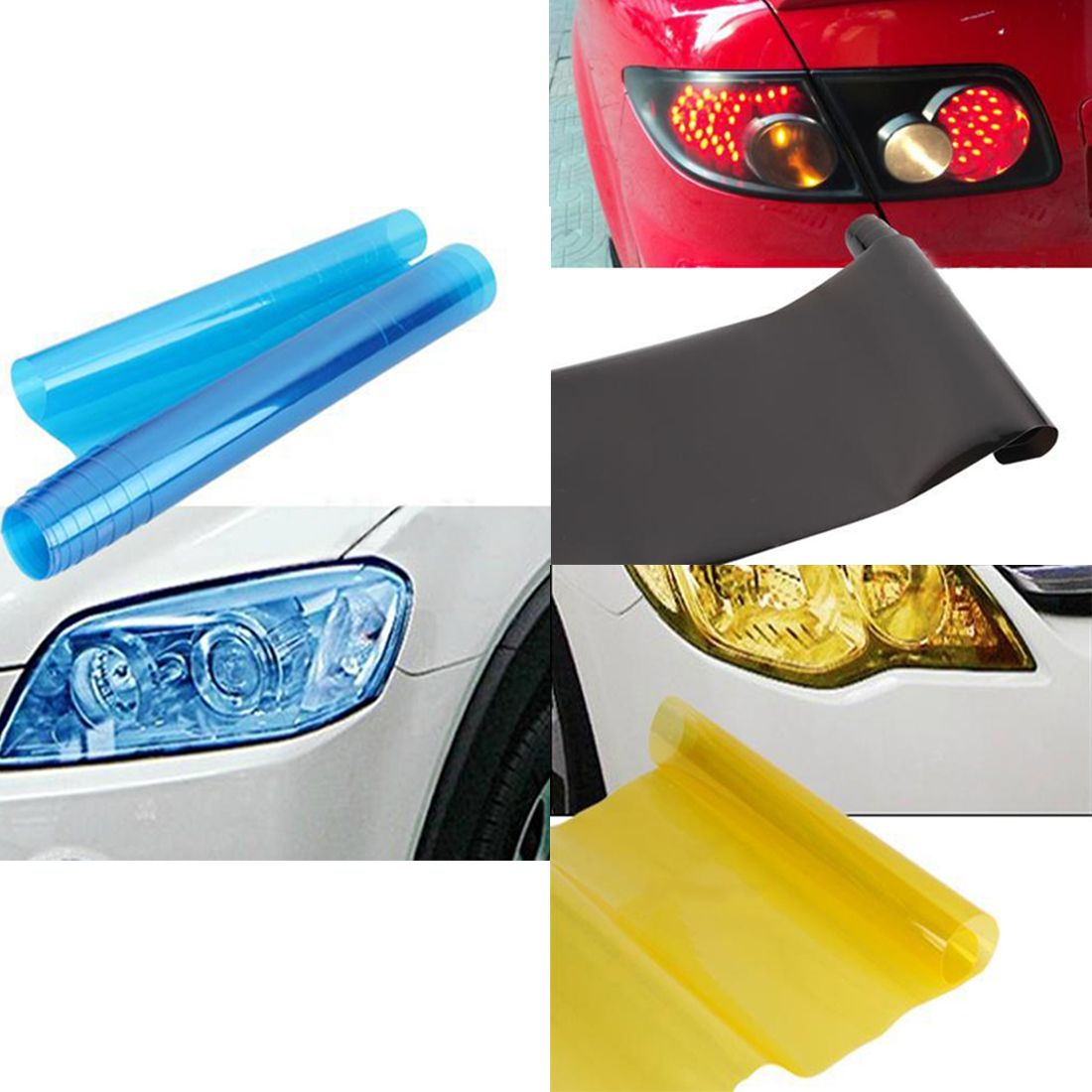 Hot Sale 30cm X 120cm 3 Color Auto Car Tint Headlight Taillight Fog Light Vinyl Smoke Film Sheet Sticker Cover 12inch X Tail Light Motorbike Accessories Vinyl [ 1100 x 1100 Pixel ]