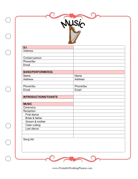 Whether You Use Recorded Music Or Live Performers You Can Keep Track Of All The Detail Wedding Planner Printables Wedding Planning Binder Wedding Planner Book