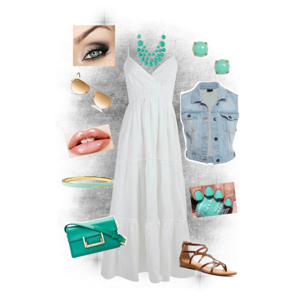 White Maxi Dress Outfit With Mint Green Accessories Maxi Dress