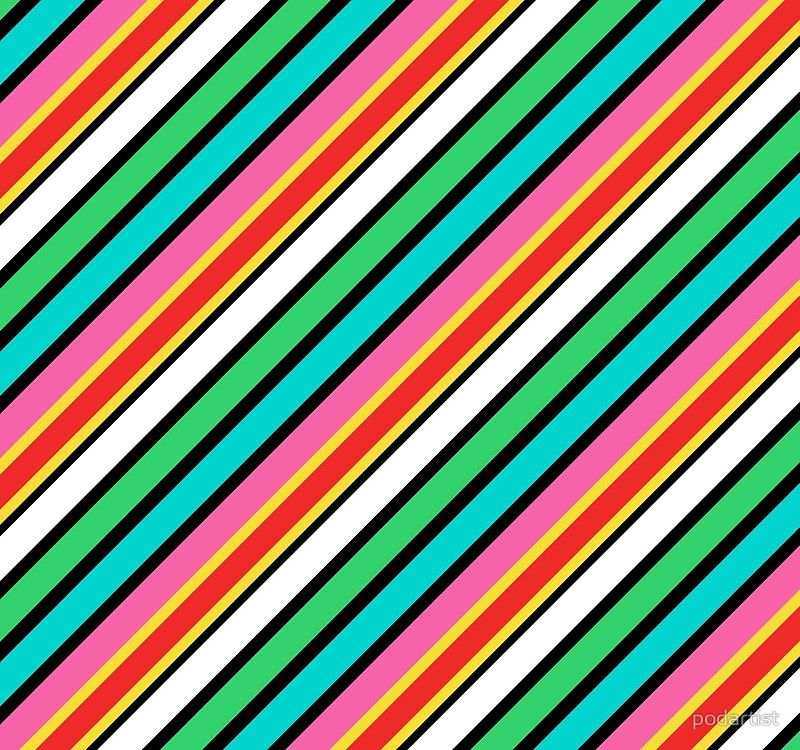 Diagonal Candy Colored Deckchair Striped in Pink, Aqua and