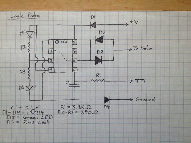 Pleasant Build Your Own Logic Probe On The Cheap Using A 555 Timer Wiring 101 Cranwise Assnl