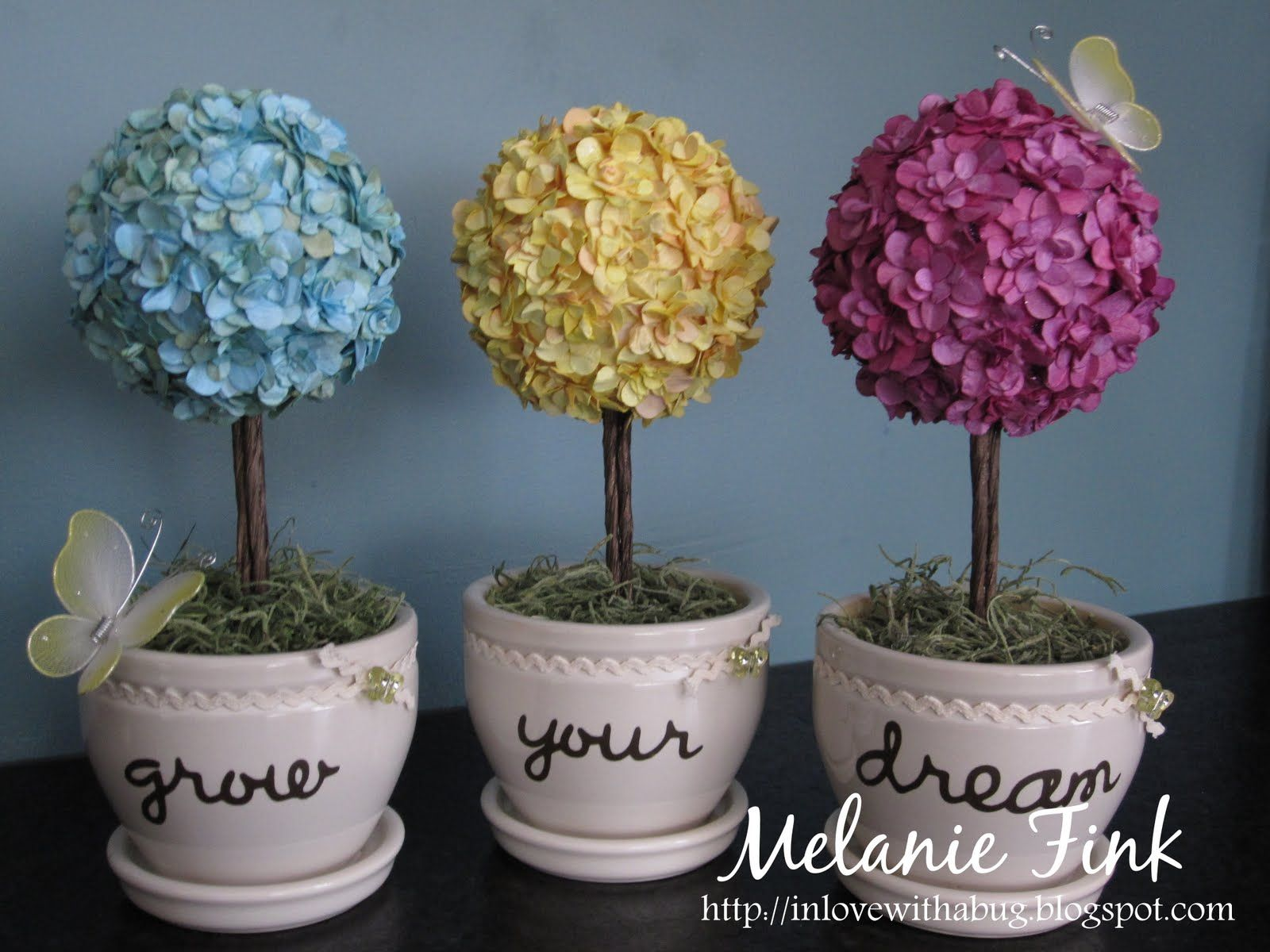Fabulous flower topiaries made by Melanie