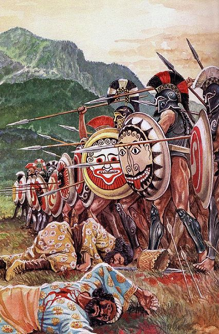 """Spartan hoplites at the Battle of Thermopylae"""