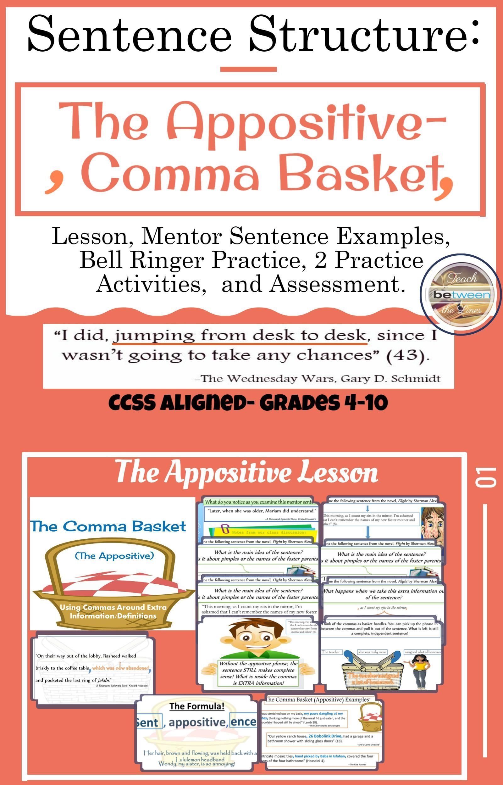Sentence Structure With The Appositive The Comma Basket