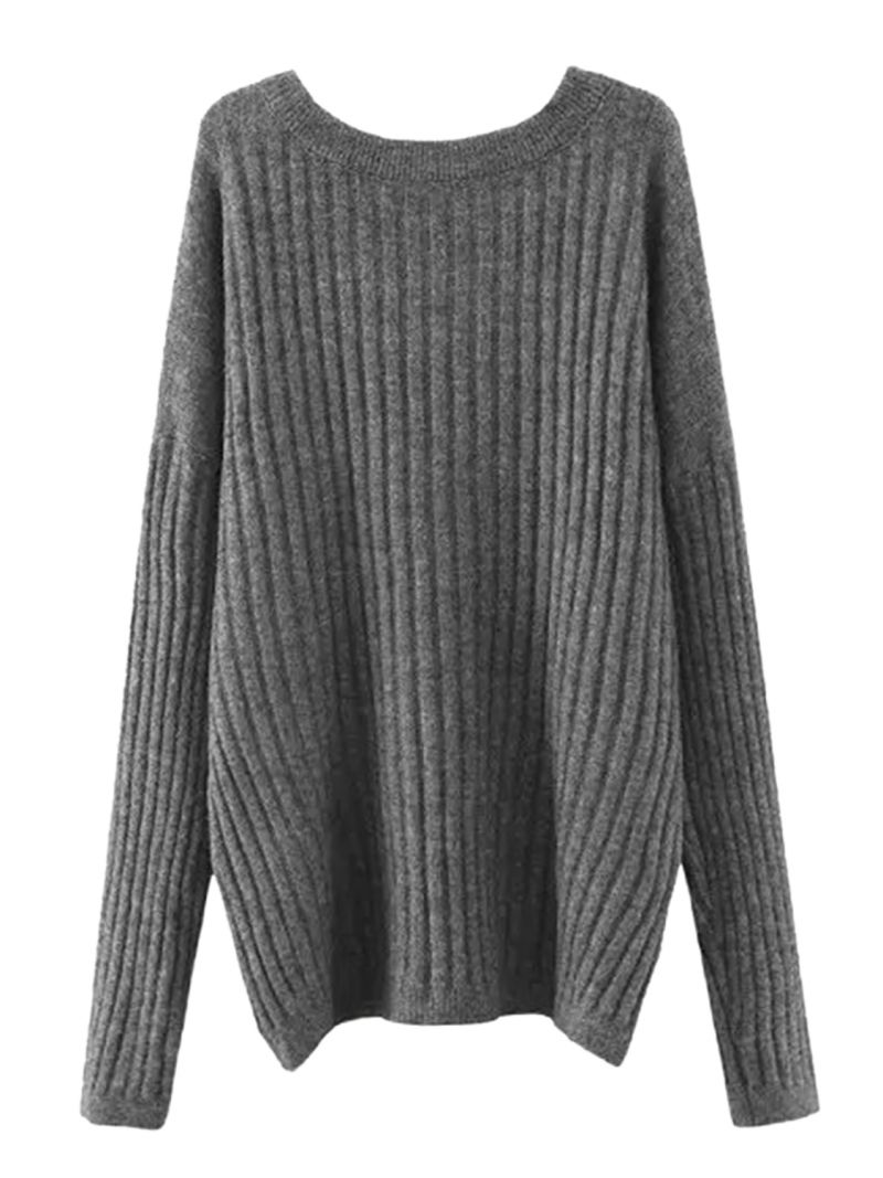 Buy Gray Drop Shoulder Long Sleeve Chunky Knit Sweater from abaday.com, FREE shipping Worldwide - Fashion Clothing, Latest Street Fashion At Abaday.com