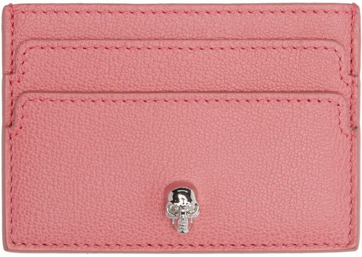 Alexander mcqueen pink skull card holder with images