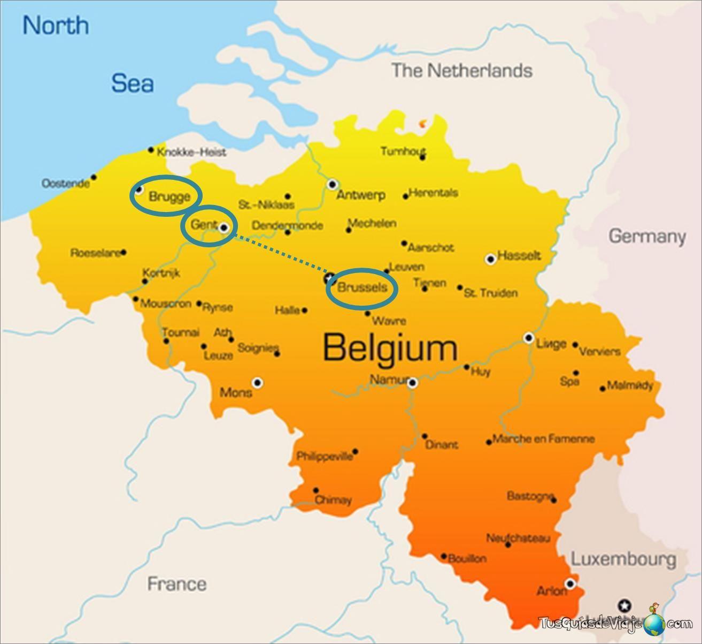 Belgica Map Guia De Viaje Bruselas Mapa De Europa