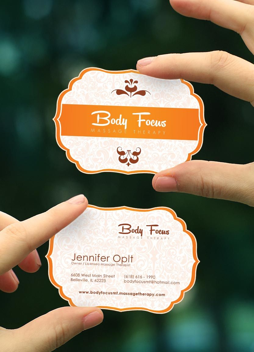 Salon De Massage Belleville Stylish Custom Shaped Massage Therapy Business Card Template For