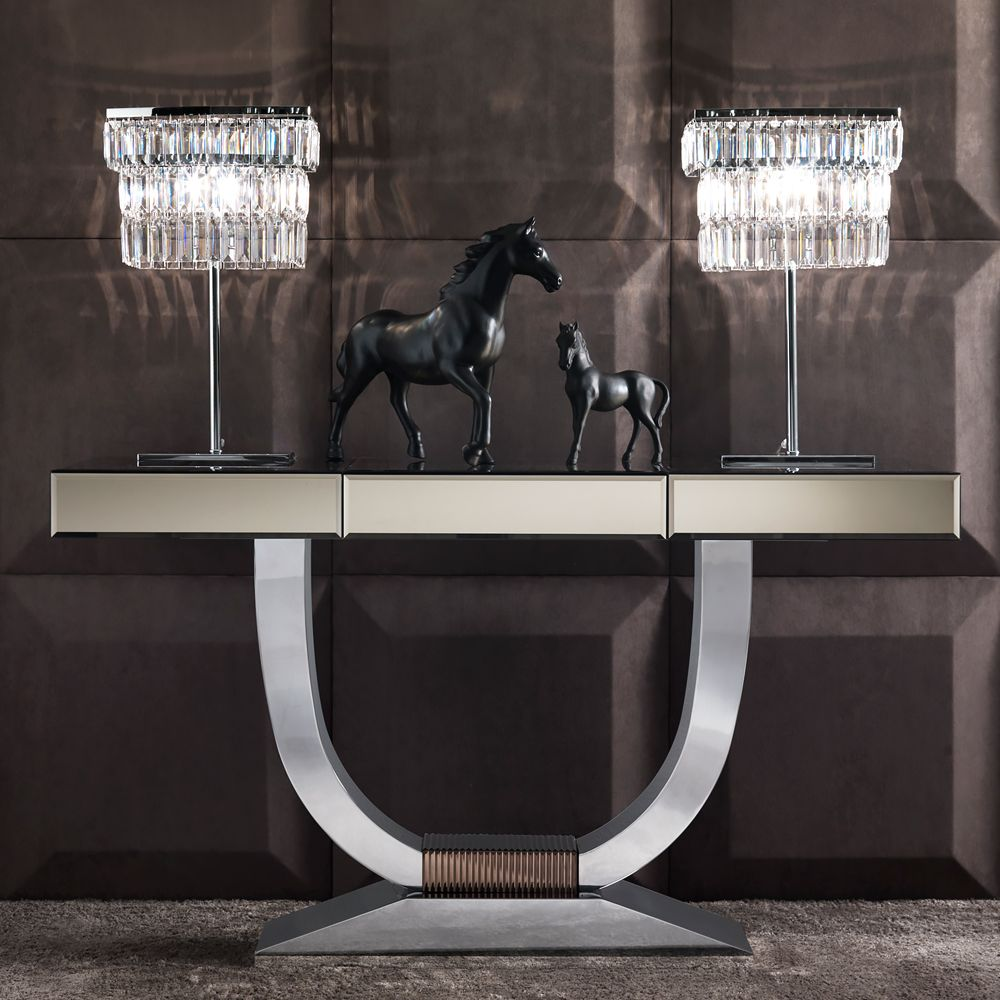 Italian Bronze Mirrored Glass Console Mirrored Furniture Bronze