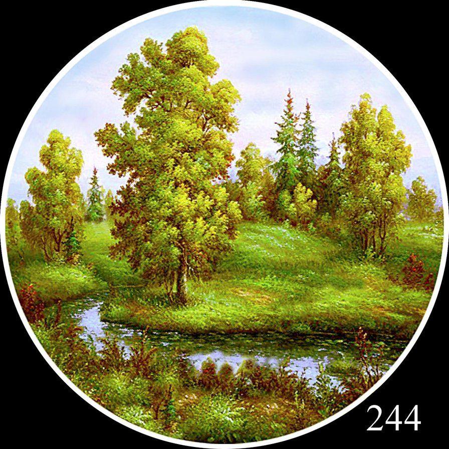 Вышивка круглых пейзажей