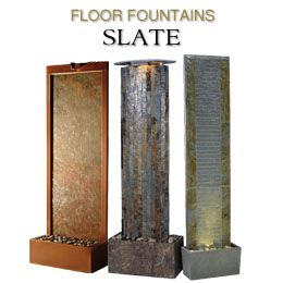 There is nothing more realistic sounding than slate water walls. This raw material offers a distinct sound as water flows over. They are very natural and have become a preferred choice. If you want one that you can enjoy inside, but move outside to your deck in the summer, our Lane Indoor/Outdoor Floor fountain is a popular pick.