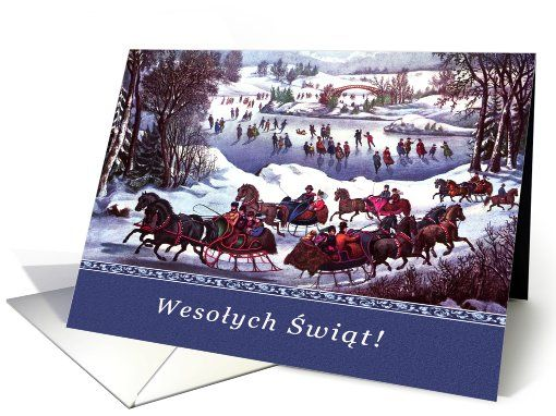 Wesolych Swiat Vintage Winter Scene Card In Polish Card Christmas Card Art Christmas Cards Happy New Year Cards